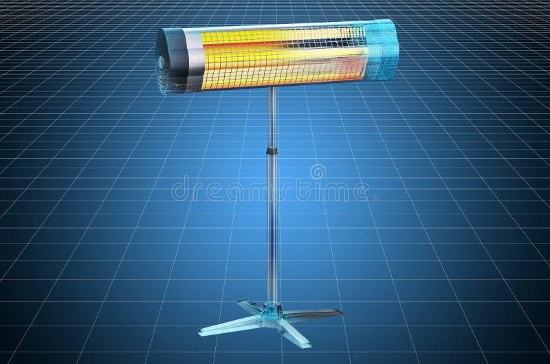 Visualization 3d cad model of halogen or infrared heater, blueprint. 3D rendering. Visualization 3d cad model of halogen or infrared heater, blueprint. 3D vector illustration