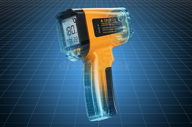Visualization 3d cad model of infrared thermometer, blueprint. 3D rendering. Visualization 3d cad model of infrared thermometer, blueprint. 3D stock illustration