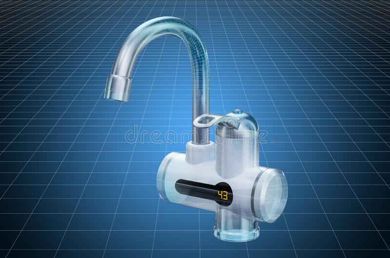 Visualization 3d cad model of instant electric hot water heater, blueprint. 3D rendering. Visualization 3d cad model of instant electric hot water heater stock illustration
