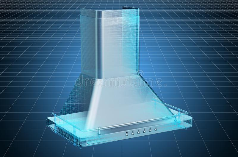 Visualization 3d cad model of kitchen exhaust hood, blueprint. 3D rendering. Visualization 3d cad model of kitchen exhaust hood, blueprint. 3D vector illustration
