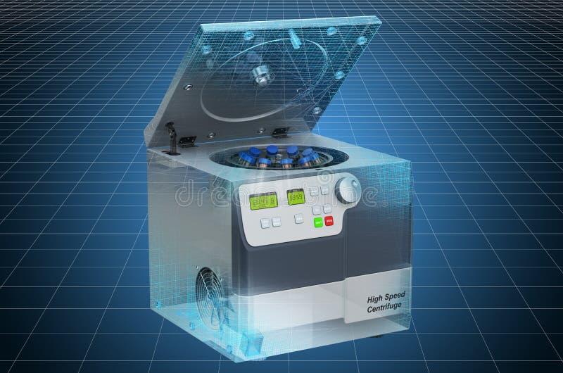 Visualization 3d cad model of laboratory centrifuge, blueprint. 3D rendering. Visualization 3d cad model of laboratory centrifuge, blueprint. 3D stock illustration