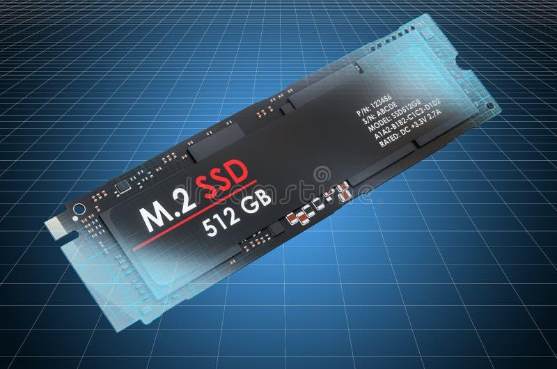 Visualization 3d cad model of M2 SSD, blueprint. 3D rendering. Visualization 3d cad model of M2 SSD, blueprint. 3D vector illustration