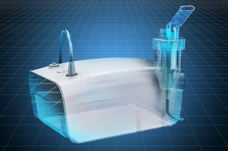 Visualization 3d cad model of medical inhaler, nebulizer. 3D rendering. Visualization 3d cad model of medical inhaler, nebulizer. 3D royalty free illustration