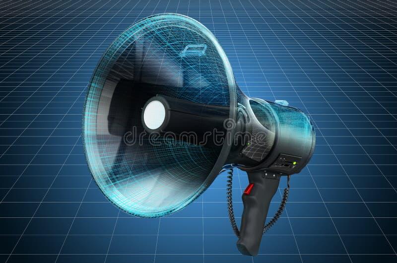 Visualization 3d cad model of megaphone or bullhorn, blueprint. 3D rendering. Visualization 3d cad model of megaphone or bullhorn, blueprint. 3D stock illustration