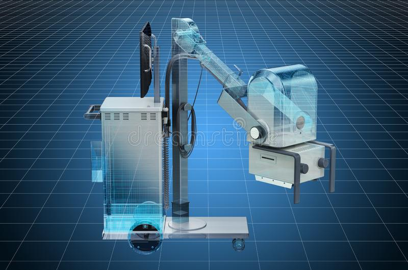 Visualization 3d cad model of mobile x-ray machine. 3D rendering. Visualization 3d cad model of mobile x-ray machine. 3D vector illustration