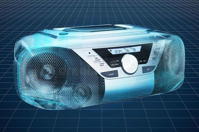 Visualization 3d cad model of Modern CD Boombox with AM/FM Stereo Radio, blueprint. 3D rendering. Visualization 3d cad model of Modern CD Boombox with AM/FM stock illustration