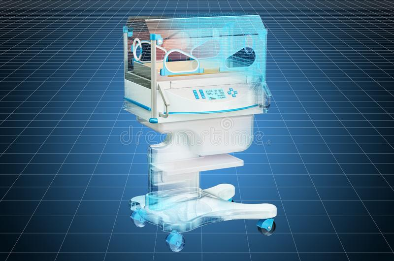 Visualization 3d cad model of neonatal incubator. 3D rendering. Visualization 3d cad model of neonatal incubator. 3D royalty free illustration