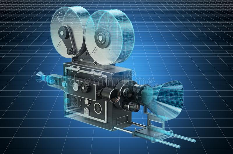 Visualization 3d cad model of old movie camera, blueprint. 3D rendering. Visualization 3d cad model of old movie camera, blueprint. 3D stock illustration