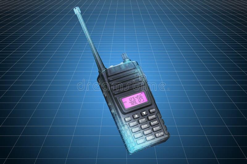 Visualization 3d cad model of portable radio walkie-talkie, blueprint. 3D rendering. Visualization 3d cad model of portable radio walkie-talkie, blueprint. 3D vector illustration