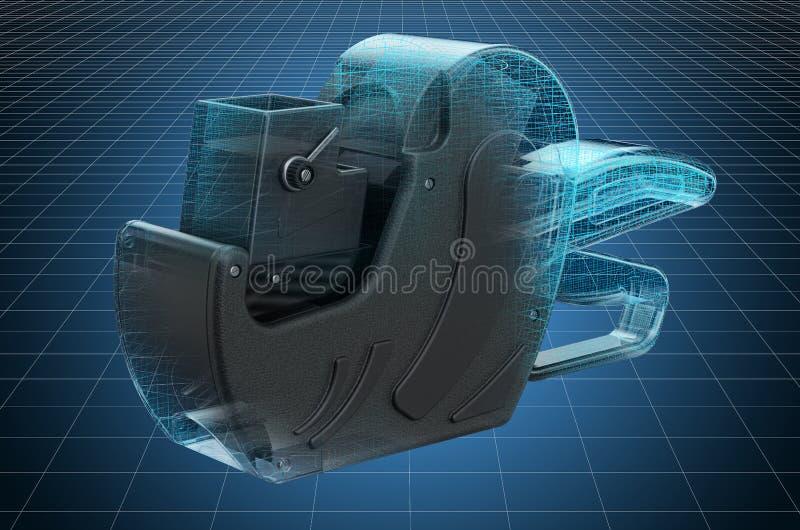 Visualization 3d cad model of price label gun. 3D rendering. Visualization 3d cad model of price label gun. 3D royalty free illustration
