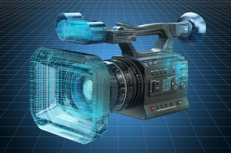 Visualization 3d cad model of professional video camera, blueprint. 3D rendering. Visualization 3d cad model of professional video camera, blueprint. 3D royalty free illustration