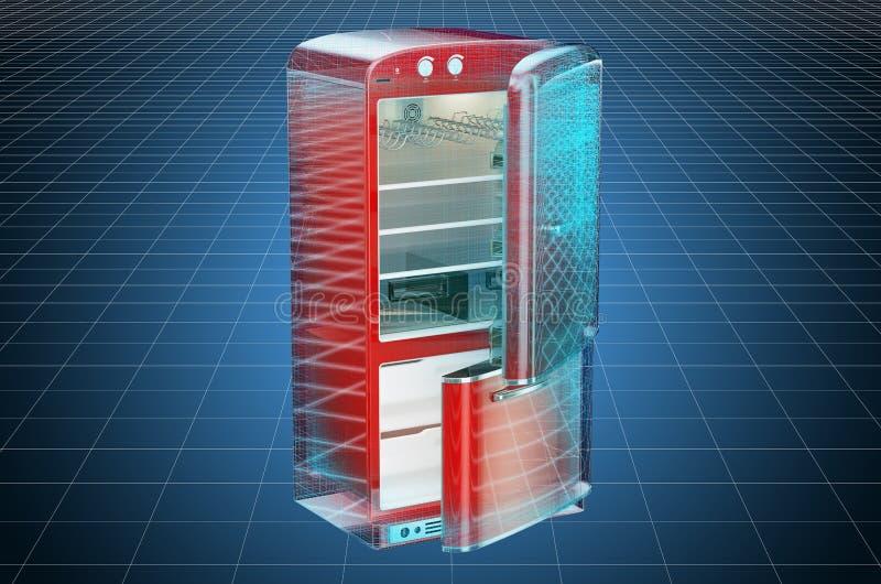 Visualization 3d cad model of retro fridge, blueprint. 3D rendering. Visualization 3d cad model of retro fridge, blueprint. 3D stock illustration