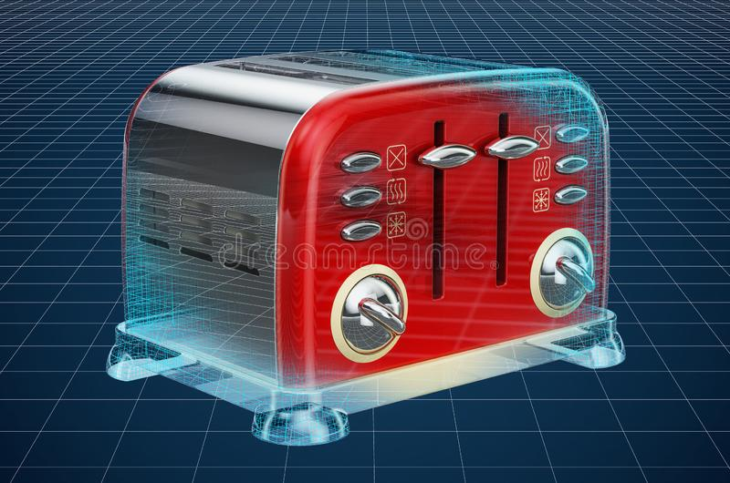 Visualization 3d cad model of retro toaster, blueprint. 3D rendering. Visualization 3d cad model of retro toaster, blueprint. 3D royalty free illustration