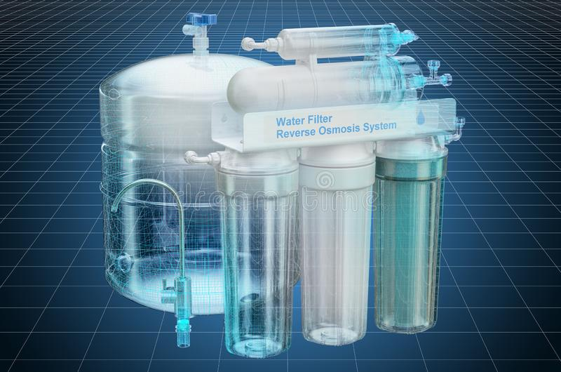 Visualization 3d cad model of Reverse Osmosis System, blueprint. 3D rendering. Visualization 3d cad model of Reverse Osmosis System, blueprint. 3D vector illustration