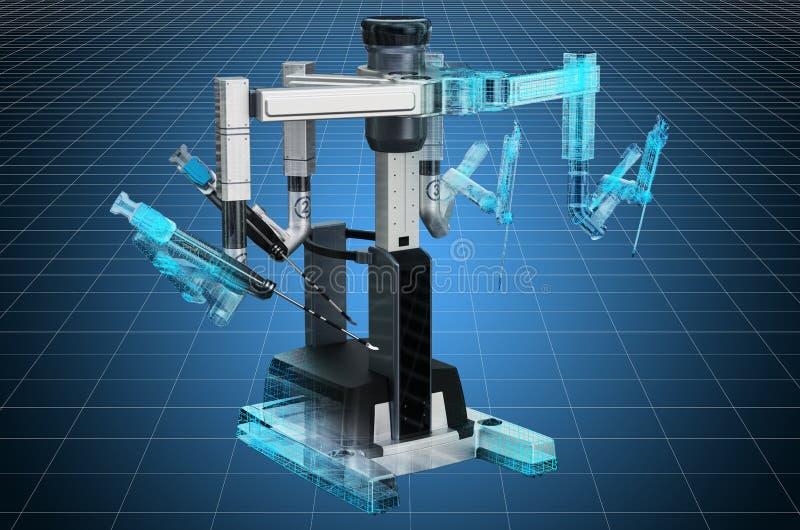 Visualization 3d cad model of robotic surgical system. 3D rendering. Visualization 3d cad model of robotic surgical system. 3D stock illustration