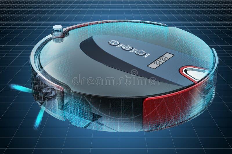 Visualization 3d cad model of robotic vacuum cleaner, blueprint. 3D rendering. Visualization 3d cad model of robotic vacuum cleaner, blueprint. 3D stock illustration