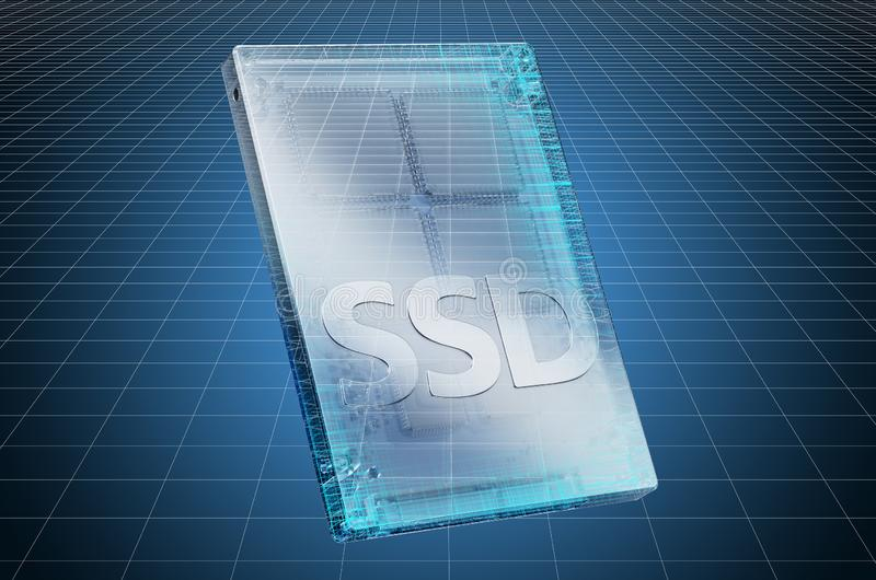 Visualization 3d cad model of solid state drive SSD, blueprint. 3D rendering. Visualization 3d cad model of solid state drive SSD, blueprint. 3D stock illustration