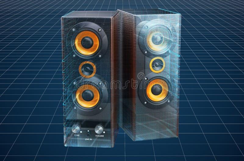 Visualization 3d cad model of speakers, blueprint. 3D rendering. Visualization 3d cad model of speakers, blueprint. 3D vector illustration