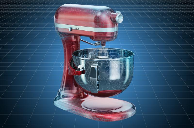 Visualization 3d cad model of stand kitchen mixer, blueprint. 3D rendering. Visualization 3d cad model of stand kitchen mixer, blueprint. 3D stock illustration