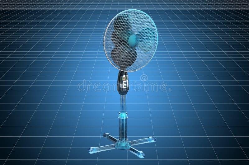 Visualization 3d cad model of standing pedestal electric fan, blueprint. 3D rendering. Visualization 3d cad model of .standing pedestal electric fan, blueprint royalty free illustration