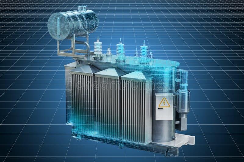 Visualization 3d cad model of transformer oil, high voltage power transformer, blueprint. 3D rendering. Visualization 3d cad model of transformer oil, high vector illustration