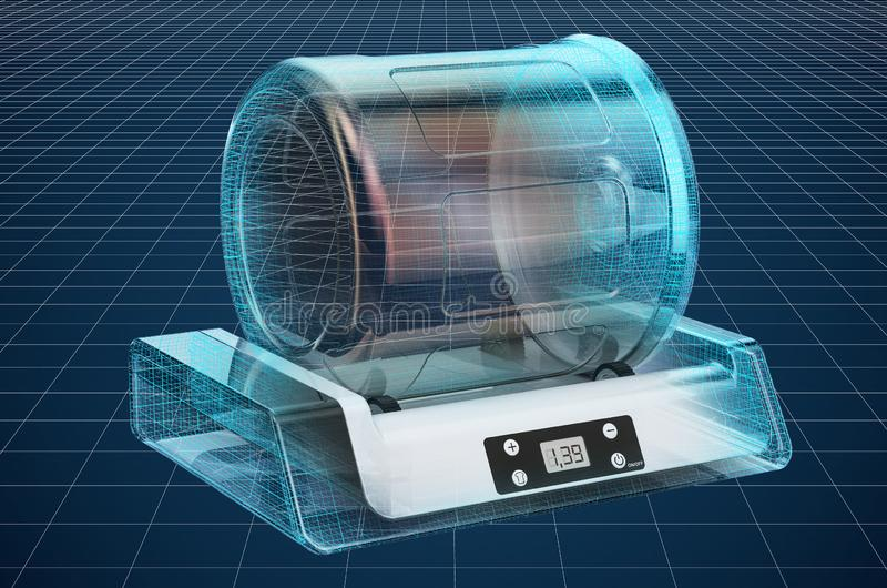 Visualization 3d cad model of vacuum marinator, blueprint. 3D rendering. Visualization 3d cad model of vacuum marinator, blueprint. 3D vector illustration