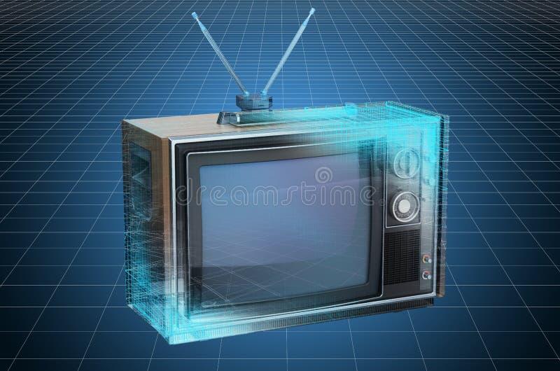 Visualization 3d cad model of vintage TV set, blueprint. 3D rendering. Visualization 3d cad model of vintage TV set, blueprint. 3D stock illustration