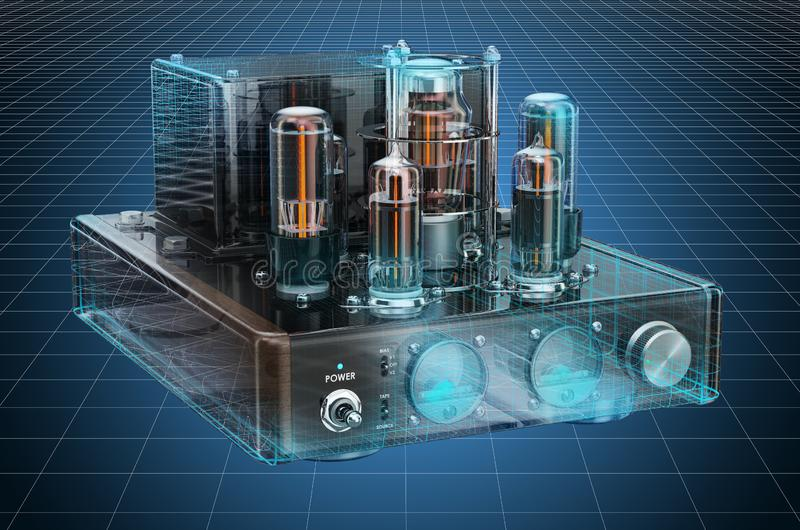 Visualization 3d cad model of vintage vacuum tube amplifier. 3D rendering. Visualization 3d cad model of vintage vacuum tube amplifier. 3D stock illustration