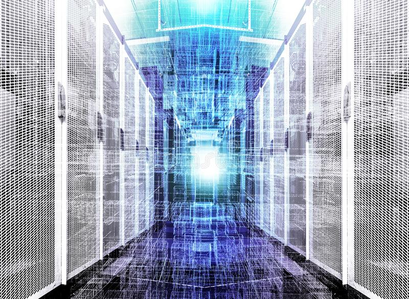 Visualization of data warehouse with bytes of files and data. Futuristic cubes of particles on the background of corridor. Visualization of the data warehouse stock image