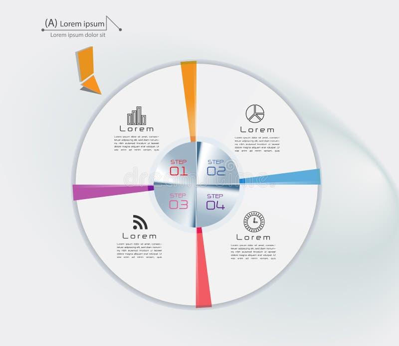 Visualization för affärsdata Processdiagram Abstrakta beståndsdelar av grafen, diagrammet med moment, alternativ, delar eller pro royaltyfri illustrationer