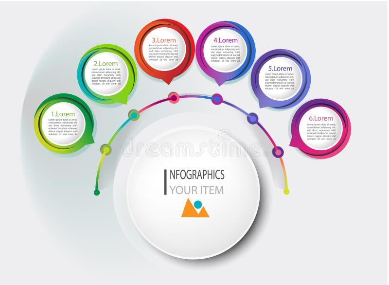 Visualization för affärsdata Processdiagram Abstrakta beståndsdelar av grafen, diagrammet med moment, alternativ, delar eller pro vektor illustrationer