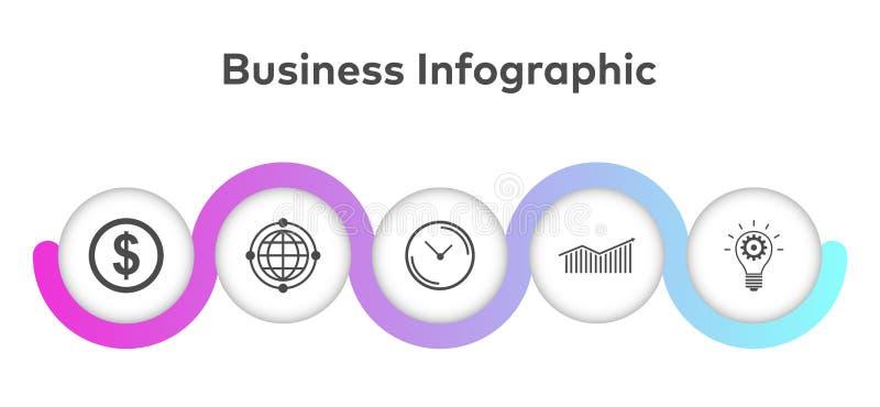 Visualization för affärsdata Processdiagram Abstrakta beståndsdelar av grafen, diagrammet med moment, alternativ, delar eller pro stock illustrationer