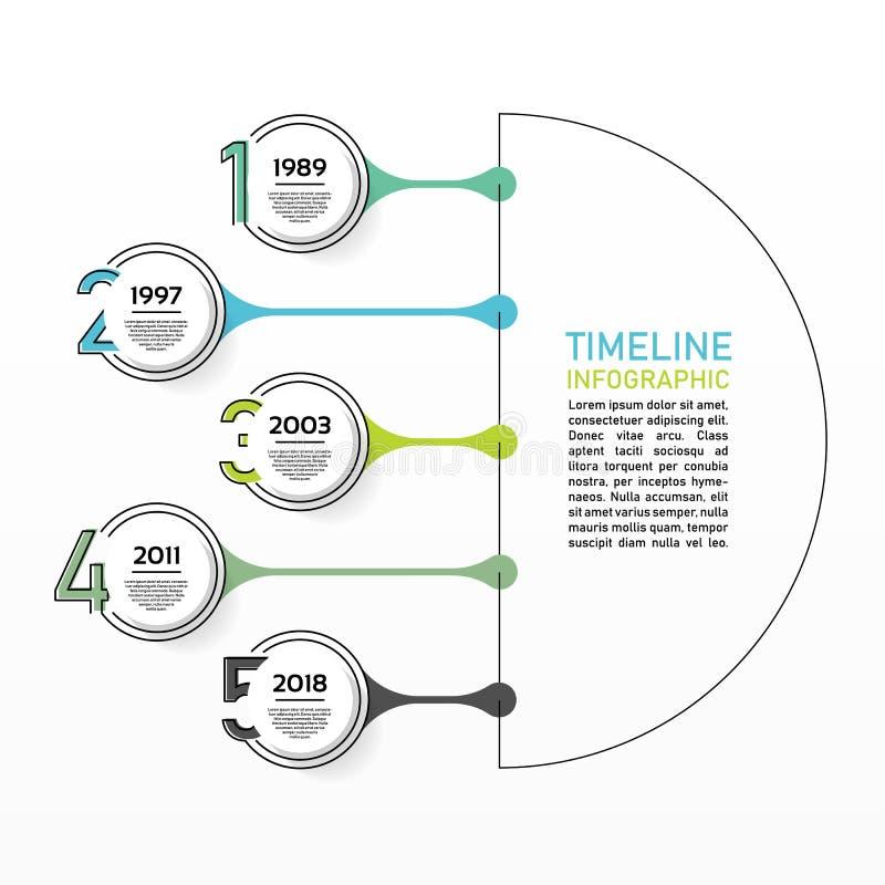 Visualization för affärsdata Processdiagram Abstrakta beståndsdelar av raph, diagrammet med 5 moment, alternativ, delar eller pro royaltyfri illustrationer