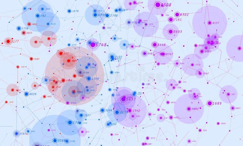 Visualization för data 3D för Violet abstrakt stor Invecklade finansiella data dragar analys Affärsanalyticsframställning vektor illustrationer