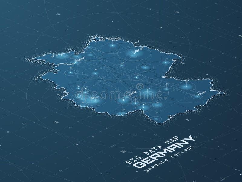 Visualization för data för Tysklandöversikt stor Infographic futuristisk översikt Informationsestetik Visuell datakomplexitet kom royaltyfri illustrationer