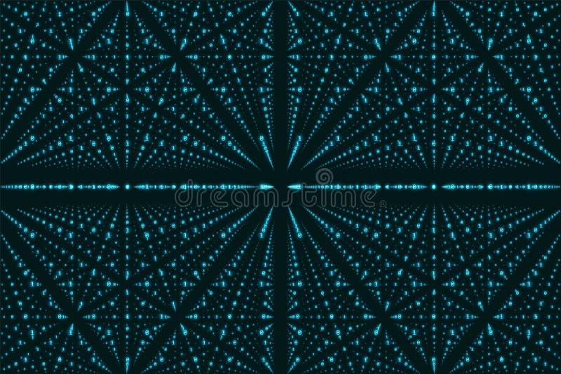 Visualization för matris för vektoroändlighetsdata Blå stor datastruktur med binärt nummergaller royaltyfri illustrationer