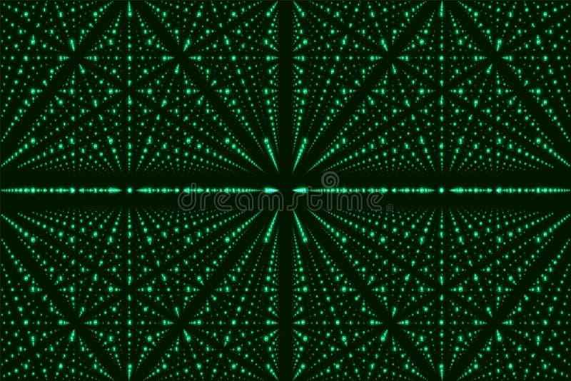 Visualization för matris för vektoroändlighetsdata Grön stor datastruktur med binärt nummergaller vektor illustrationer
