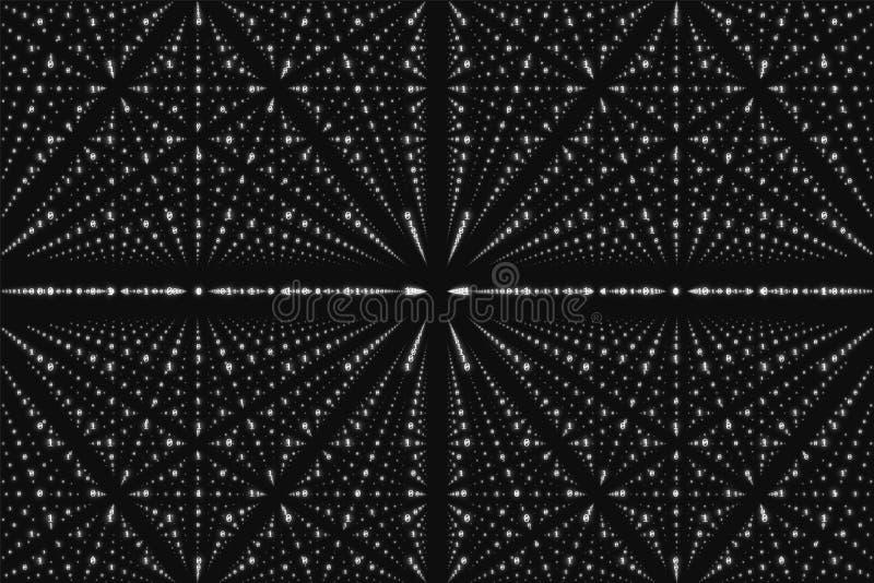 Visualization för matris för vektoroändlighetsdata Stor datastruktur för gråton med binärt nummergaller royaltyfri illustrationer