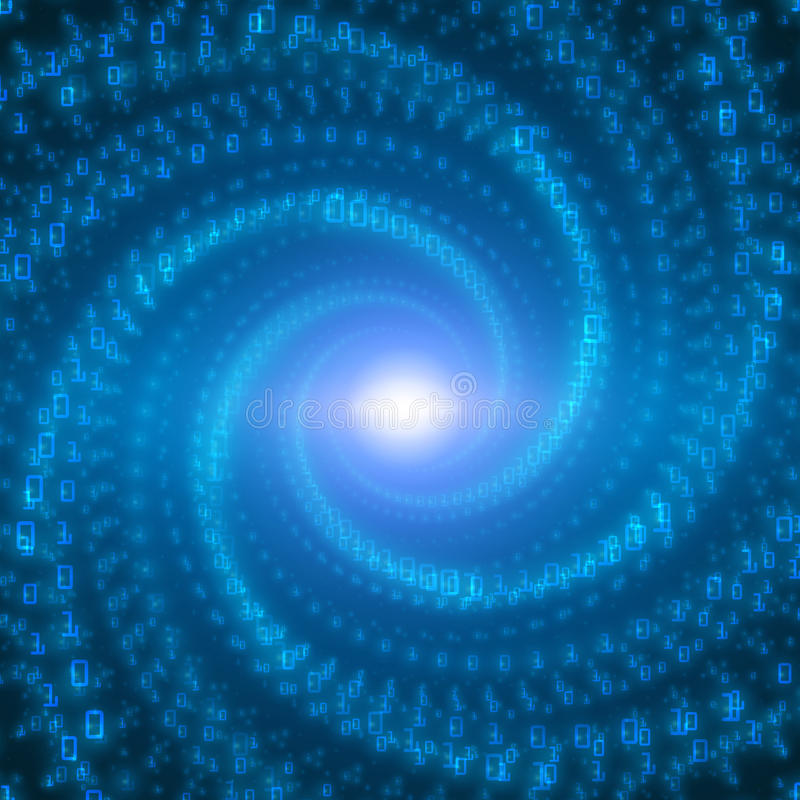 Visualization för vektordataflöde Blått stort dataflöde som binära nummerrader som vrids i oändlighetstunnel royaltyfri illustrationer