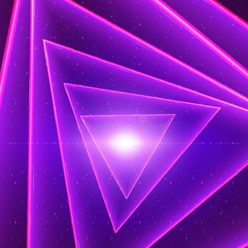 Visualization för vektordataflöde Glödande vriden tunnel för triangel av violett stort dataflöde som binära rader stock illustrationer