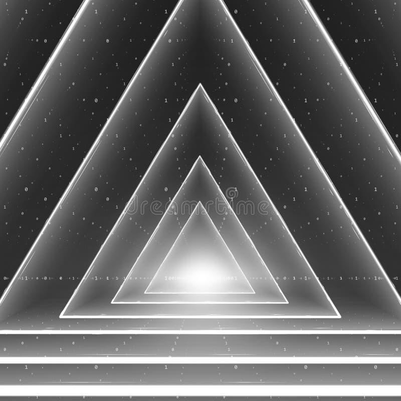 Visualization för vektordataflöde Stränger den glödande tunnelen för triangeln av stort dataflöde för gråtonen som binära nummer royaltyfri illustrationer