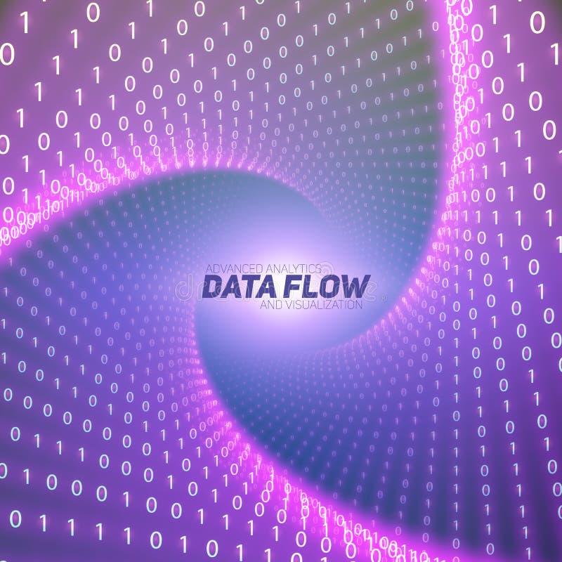 Visualization för vektordataflöde Violett stort dataflöde som binära nummerrader vred i tunnel royaltyfri illustrationer