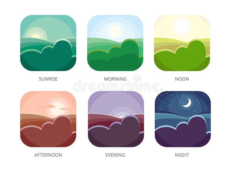 Visualization of various times of day. Morning, noon and night. Flat style vector illustrations. Sunrise and afternoon, evening landscape vector illustration