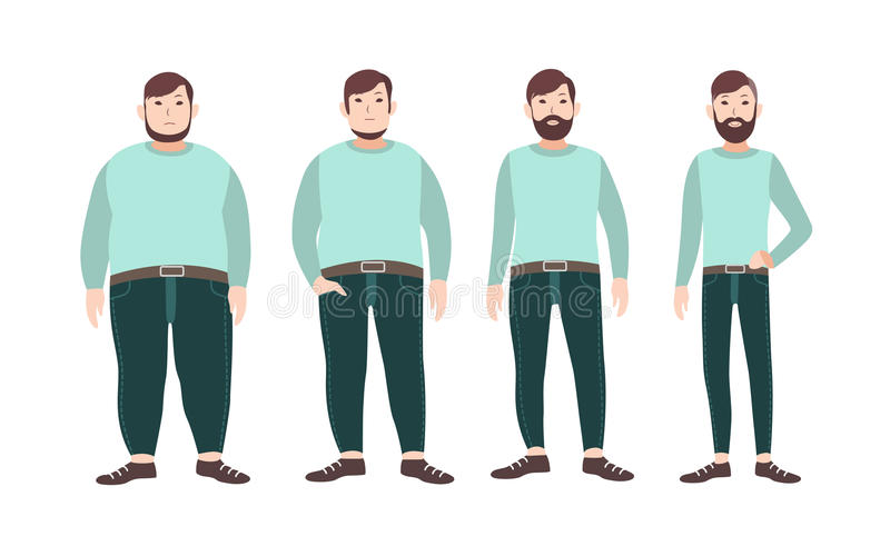 Visualization of weight loss stages of male cartoon character, from fat to slim. Concept of body changing through diet. Healthy nutrition and sports. Vector stock illustration