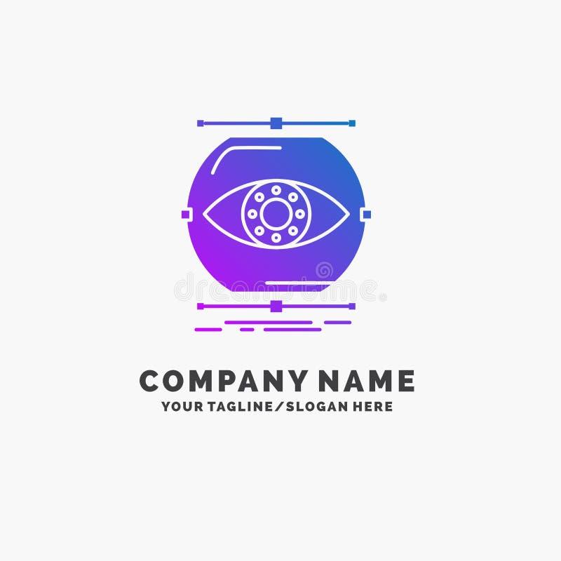 visualize, concepção, monitoração, monitoração, negócio roxo Logo Template da visão Lugar para o Tagline ilustração do vetor