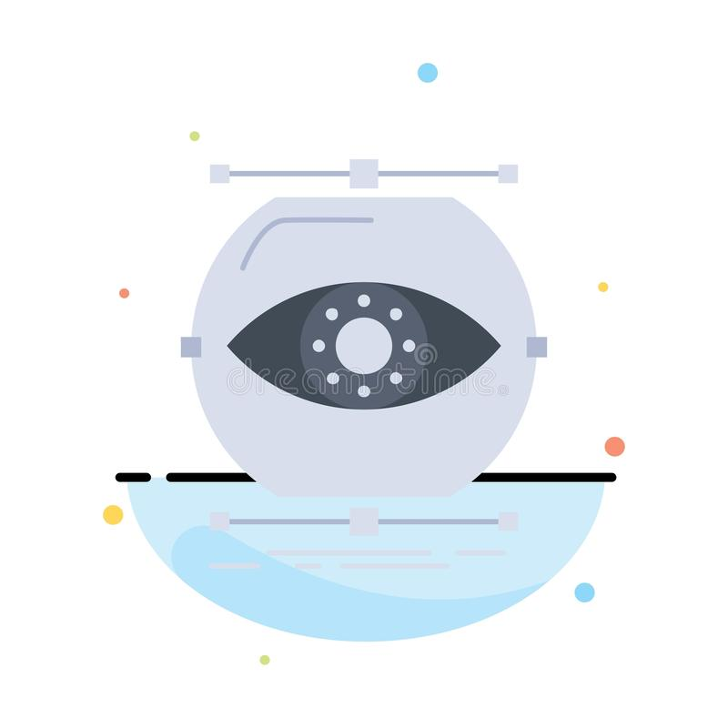 visualize, conception, monitoring, monitoring, vision Flat Color Icon Vector royalty free illustration