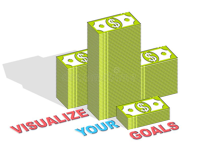 Visualize sua cartaz da motivação do negócio dos objetivos ou bandeira, dinheiro ilustração royalty free