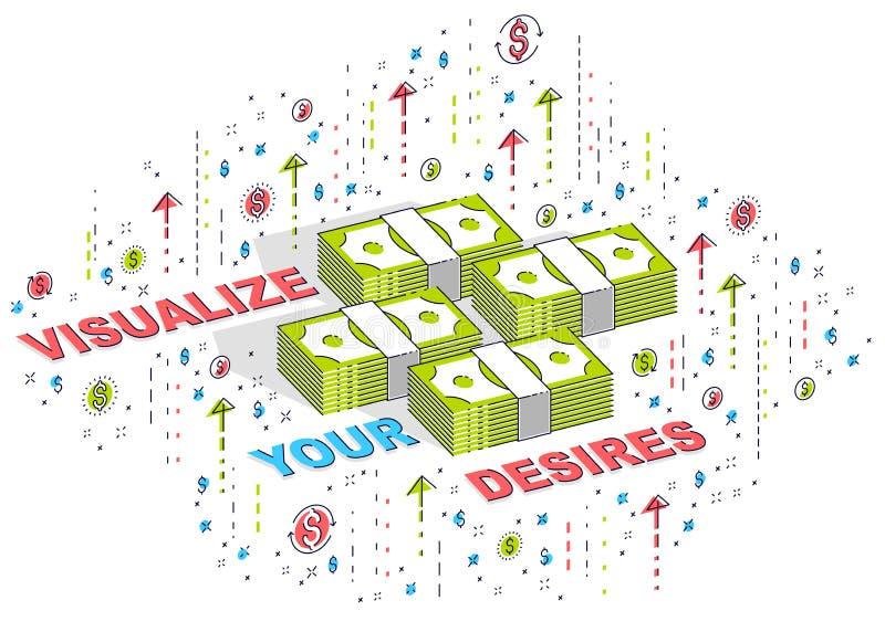 Visualize sua cartaz da motivação do negócio dos objetivos ou bandeira, pilhas do dinheiro do dinheiro com a rotulação isolada no ilustração do vetor