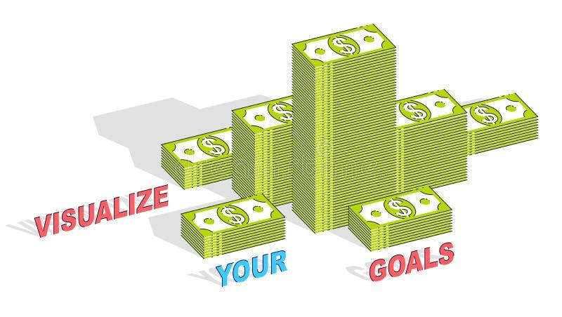 Visualize your goals business motivation poster or banner, cash royalty free illustration
