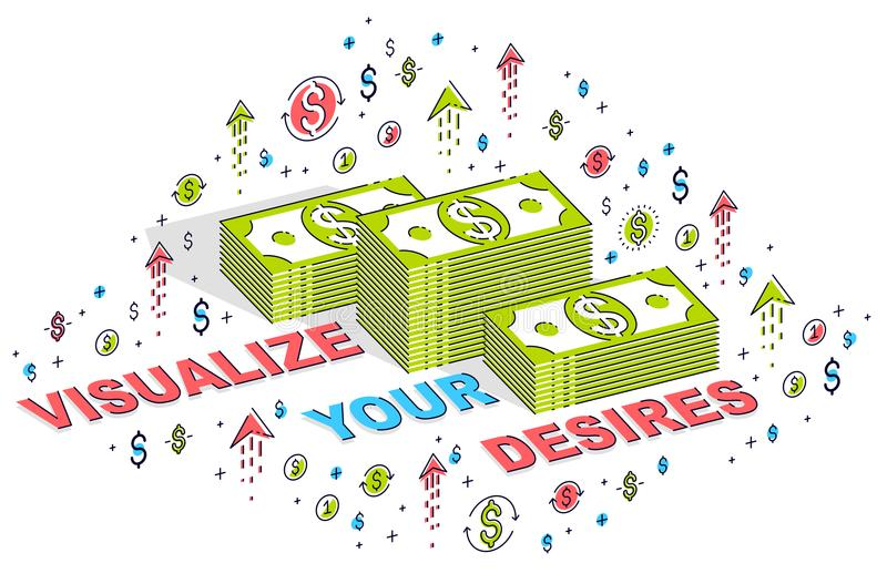 Visualize your goals business motivation poster or banner, cash royalty free illustration